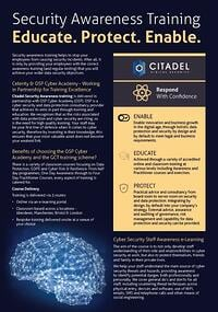 Citadel security awareness training data sheet download